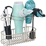 mDesign Bathroom Wall Mount Hair Styling Tools Organizer for Brushes, Curling Wand, Hair Dryer – Satin