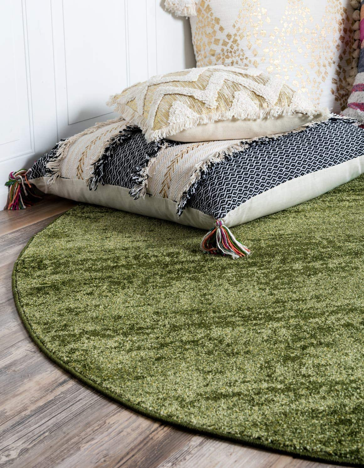 Unique Loom Del Mar Collection Contemporary Transitional Green Round Rug 6 0 x 6 0
