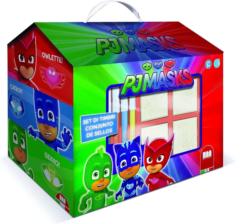 Multiprint Casita 7 Sellos para Niños PJ Mask, 100% Made in Italy, Set Sellos Niños Persolanizados, en Madera y Caucho Natural, Tinta Lavable no ...