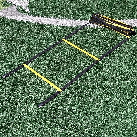 Xin Agilidad Ladder- Fijo peldaños de Escalera Velocidad - Velocidad de Entrenamiento de Ejercicios Escaleras Fútbol Fútbol Boxeo Juego de pies de Velocidad de la Agilidad de formación de escalón 12: Amazon.es: