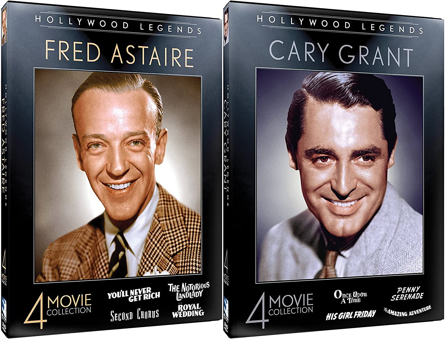 2 Legends of Hollywood Silver Screen Cary Grant Collection + Fred Astaire 8 Film DVD Classic Movie Film Leading Men Star Pack
