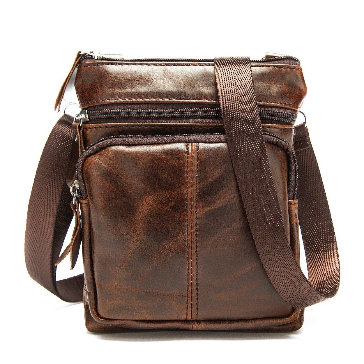 Leather Sling Bag for Men Chest Purse Crossbody Shoulder Bags Outdoor Backpack