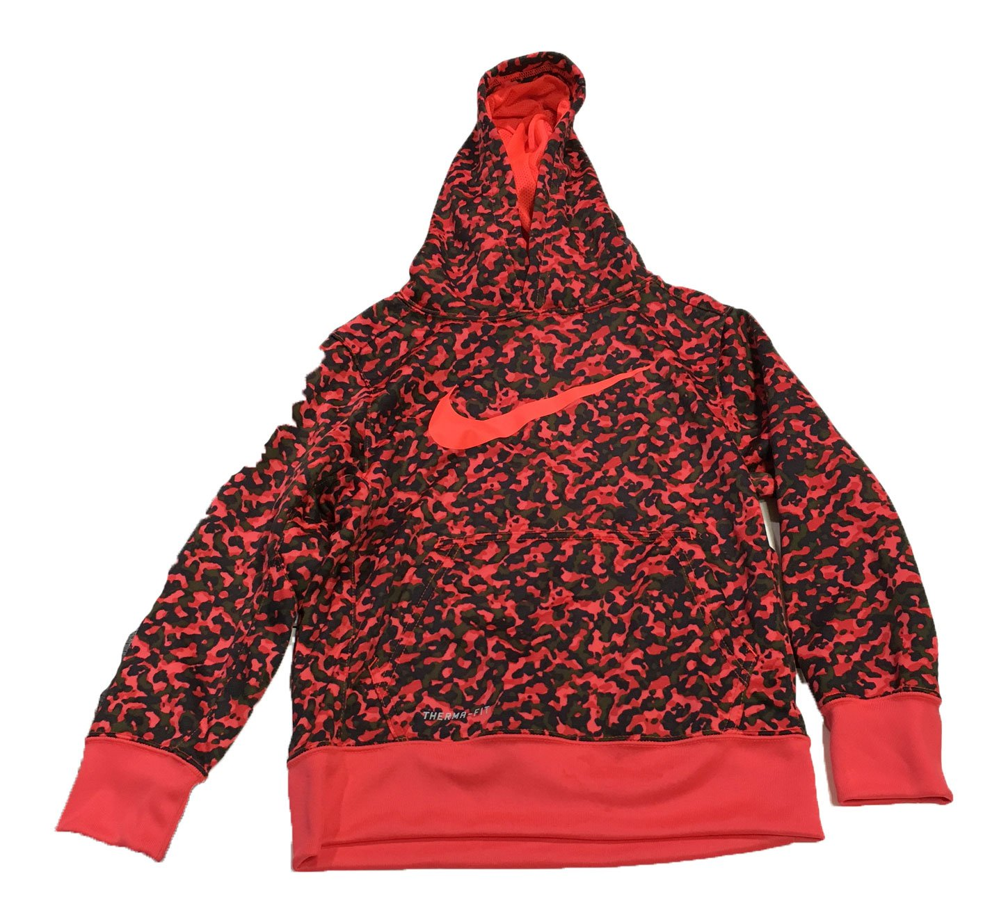 Nike Boys Training Pullover Camo Hoodie XS Red/Green