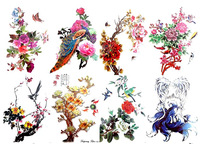 04cce83a2ee20 Amazon.com: 8 sheets peony flower roses fairy birds 8.25
