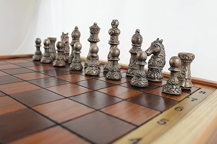 Ornate Redwood Chess Set Handmade In The U.S.A.