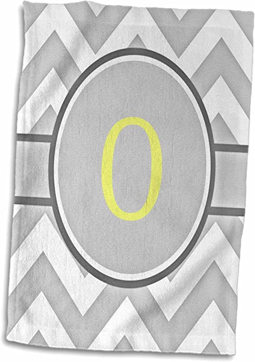 3D Rose Grey and White Chevron with Yellow Monogram Initial J Hand Towel 15 x 22 Multicolor