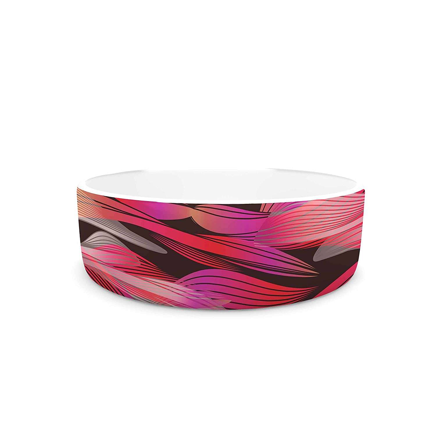 7\ KESS InHouse Angelo Cerantola Tropical Electric Pink  Black Illustration Pet Bowl, 7