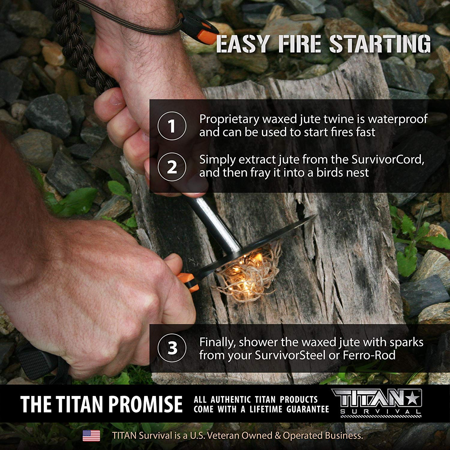 Titan SurvivorCord | Desert TAN | 103 Feet | Patented Military Type III 550 Paracord/Parachute Cord (3/16'' Diameter) with Integrated Fishing Line, Fire-Starter, and Utility Wire. by Titan Paracord (Image #5)