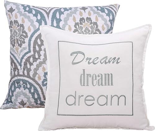 Home Soft Things Tivoli Ikat Throw Pillow, Set 20 x 20 , Teal Aqua