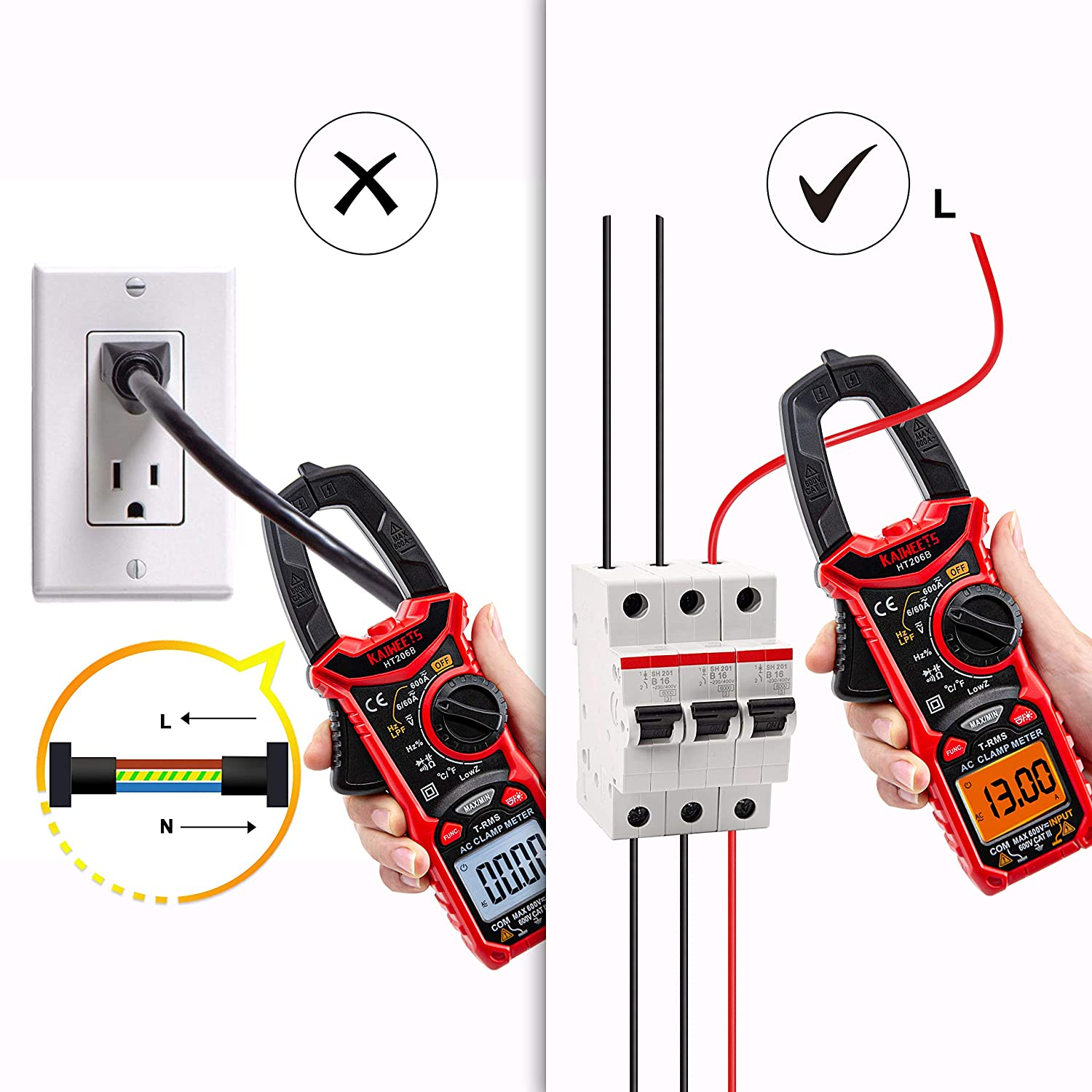 Battery Continuity Voltage KAIWEETS 206B AC Clamp Meter Professional Frequency NCV Resistance Duty T-RMS Autoranging Ampere Meters Measures 600A AC Current Capacitance Diodes 6000 Counts