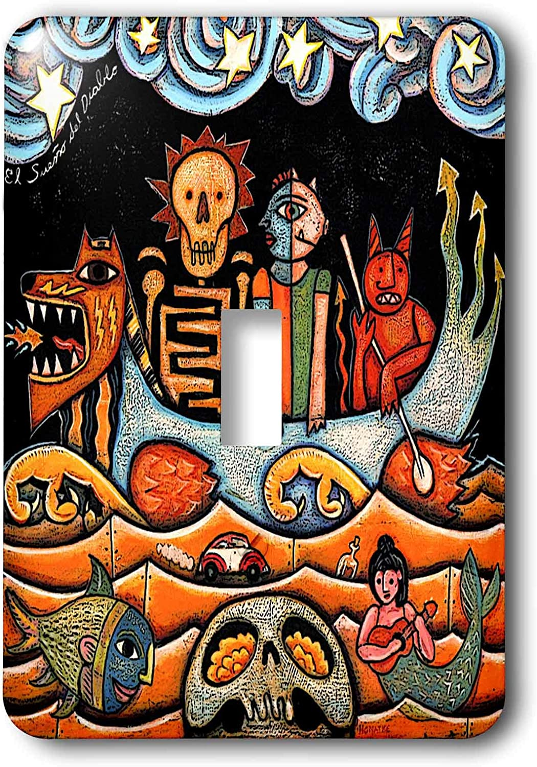 3drose Llc Lsp 21127 1 The Devil S Dream Folk Art Skulls Mexican Colorful Surrealism Single Toggle Switch Switch And Outlet Plates Amazon Com