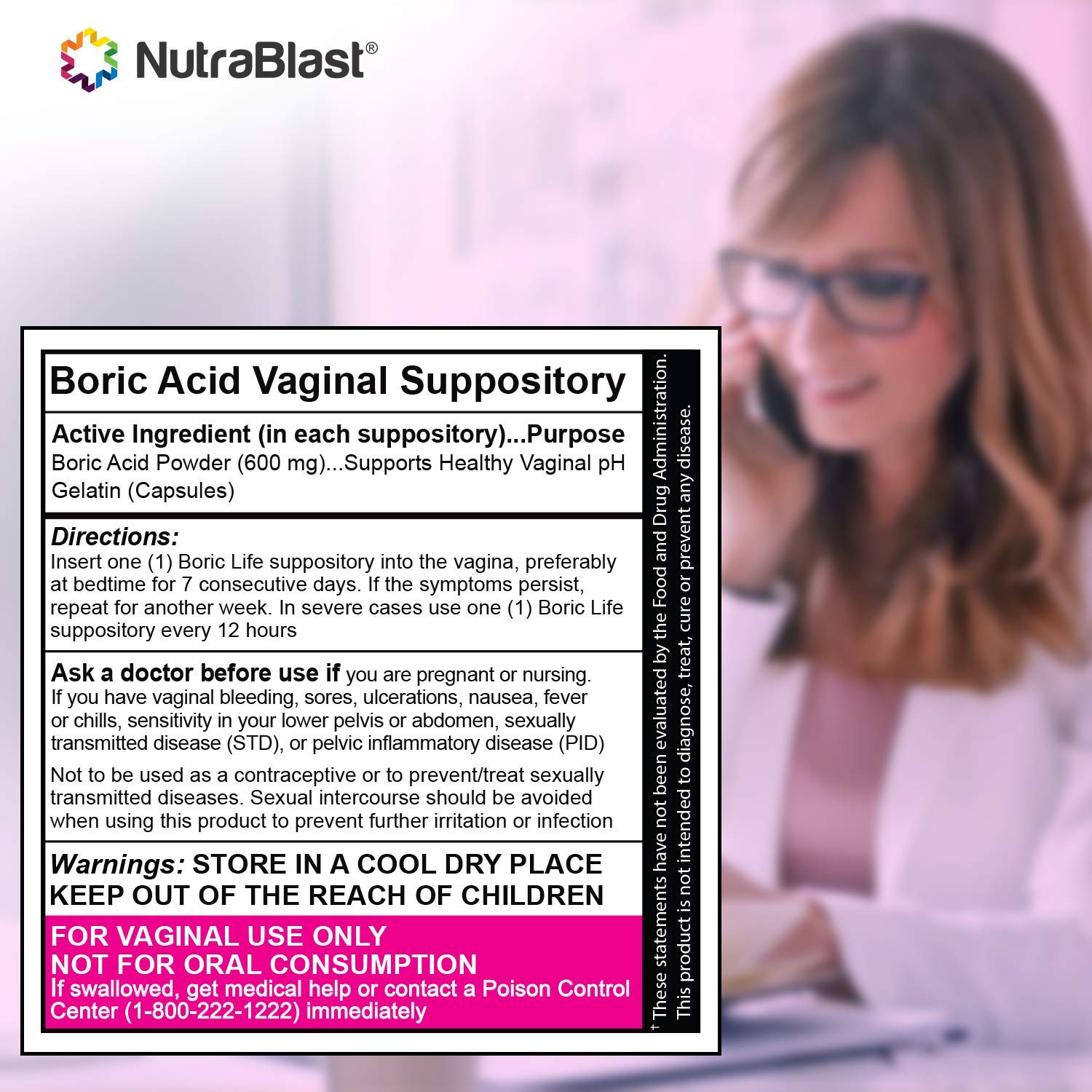 NutraBlast Boric Acid Vaginal Suppositories - 60 Count, 600mg - 100% Pure Made in USA - Boric Life Intimate Health Support