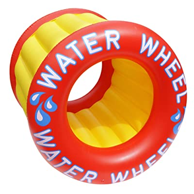 Inflatable Red and Yellow Water Wheel Swimming Pool Raft Toy, 45-Inch: Sports & Outdoors