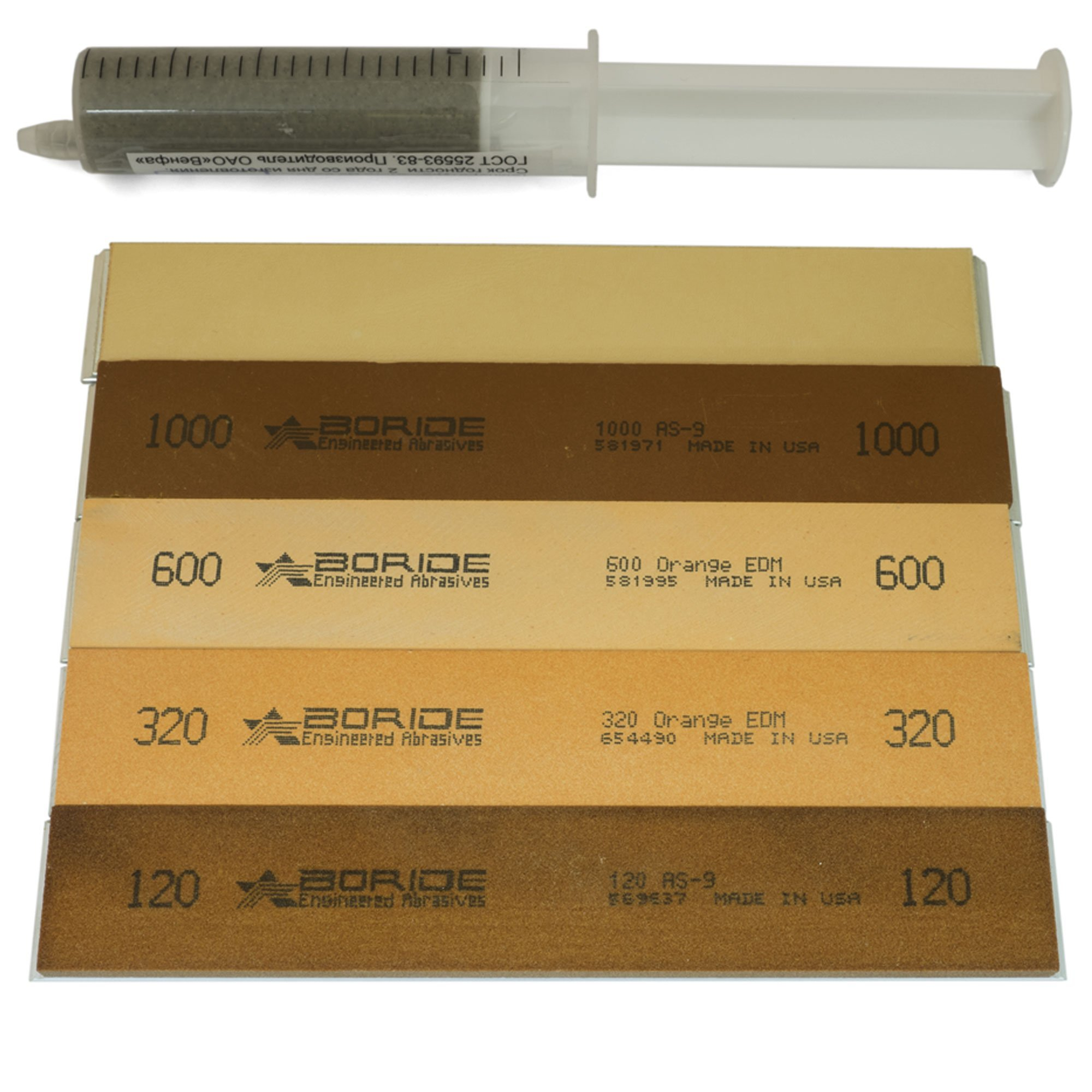 Boride Value 6'' x 1'' x 0.25'' Sharpening Stone Set with Aluminum Mounting for Edge Pro (4 stones + leather strop + paste)