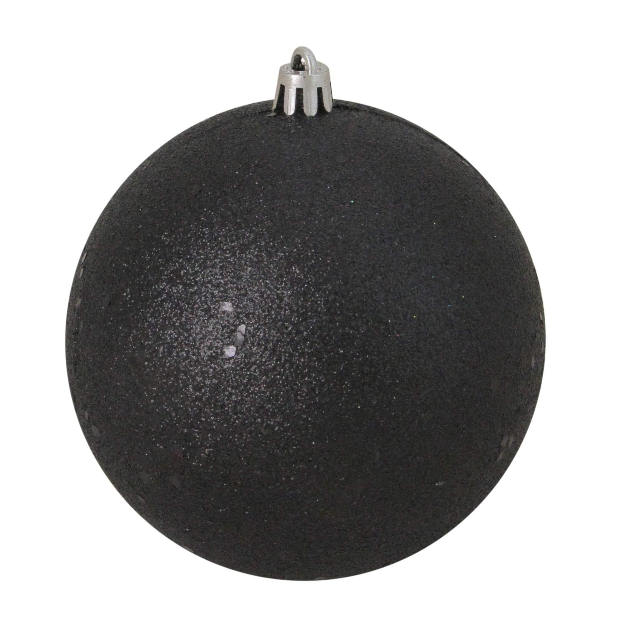Northlight Jet Black Shatterproof Holographic Glitter Christmas Ball Ornament 4'' (100mm)