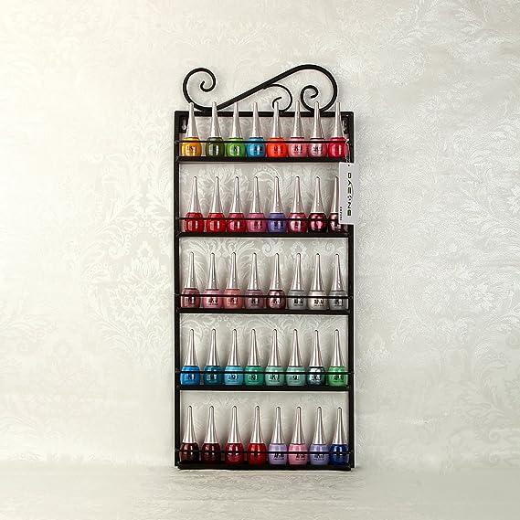 Estantería de metal para esmalte de uñas, para pared, organizador para 50 botellas con 5 niveles, estante de exhibición, color negro: Amazon.es: Bricolaje y ...