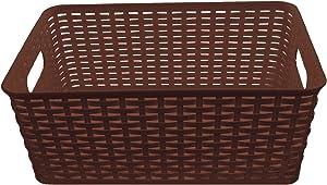 YBM HOME Plastic Rattan Storage Box Container Open Bin Basket Closet Shelf Kitchen Cabinet Pantry Office Desktop Organizer ba426-brown (Large, Brown)