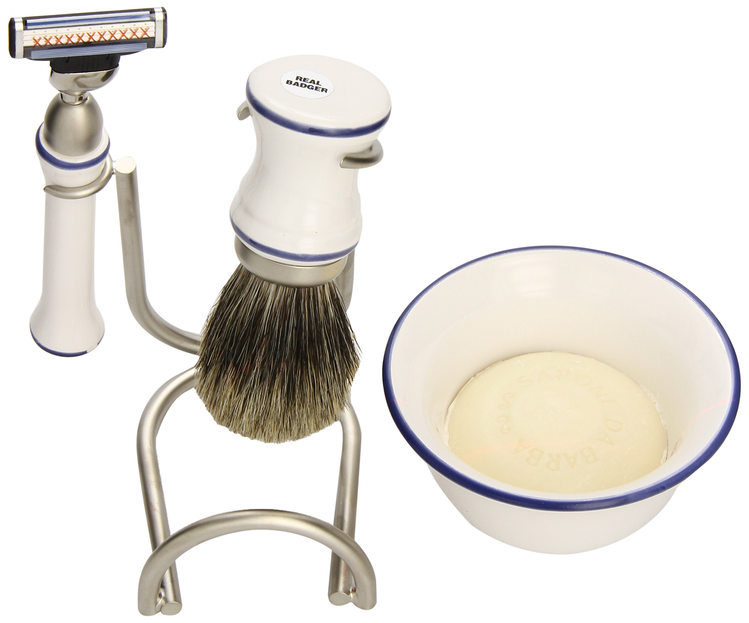 Swissco 5-Piece Shave Set, Ceramic Bowl, Badger, Mach 3 with Soap, Gift Box