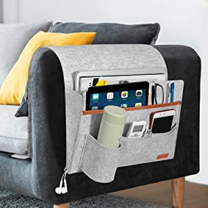 SIMBOOM Sofa Armrest Bag, Remote Holder Caddy with 5 Pockets, Bedside Sofa Storage Pocket for Laptop, iPad, Magazines, Books, Phone - Light Grey