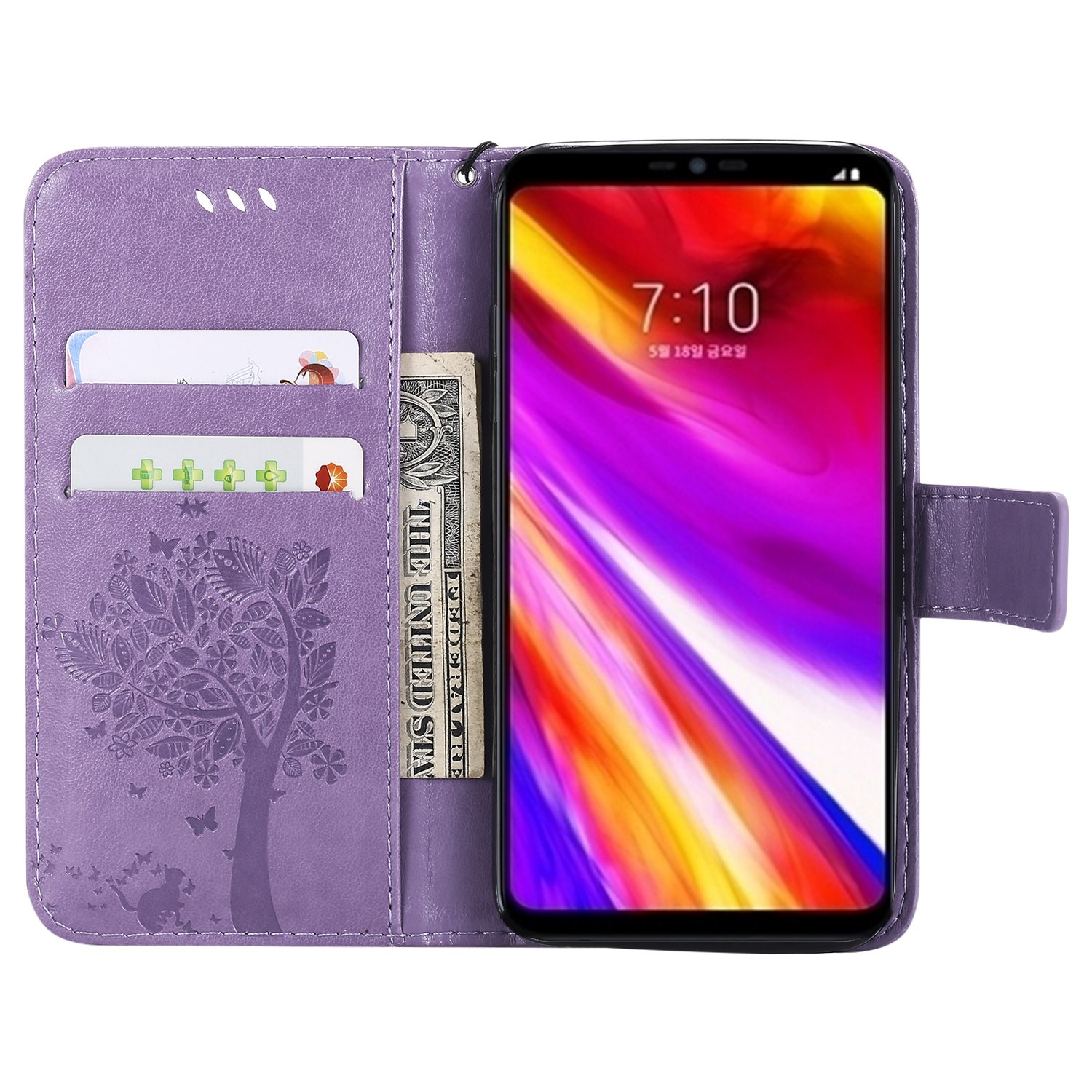 LG Aristo Case, LG Phoenix 3 Wallet Case,LG Fortune/K8 2017/LG Risio 2/LG Rebel 2 LTE Flip Case PU Leather Emboss Tree Cat Flower Folio Magnetic Kickstand Cover with Card Slots for LG LV3 Light Purple by NOMO (Image #2)