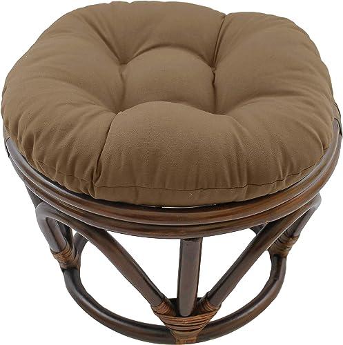 Blazing Needles Solid Twill Round Footstool Cushion
