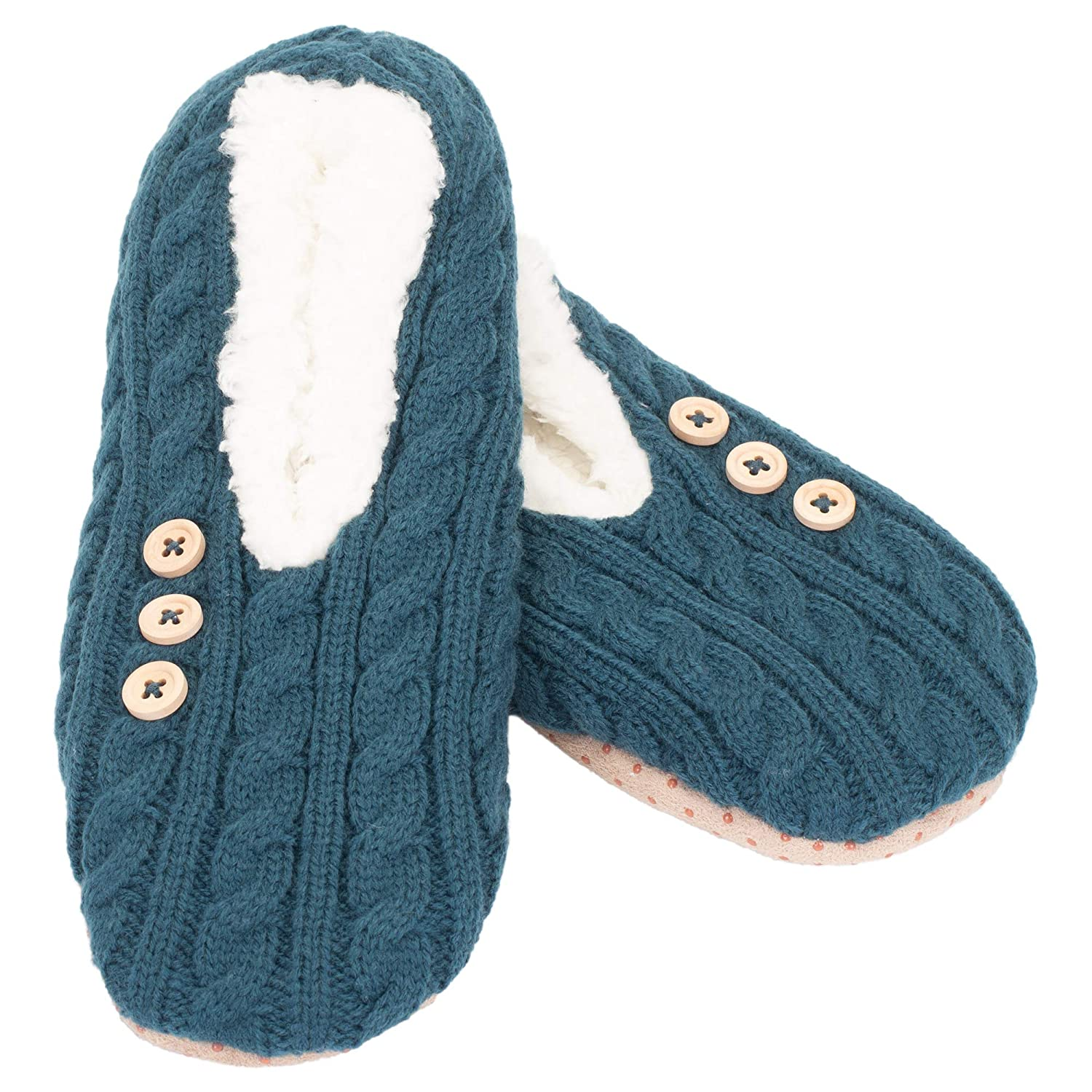 Cable Knit Sherpa-Lined Womens Polyester Slippers Large
