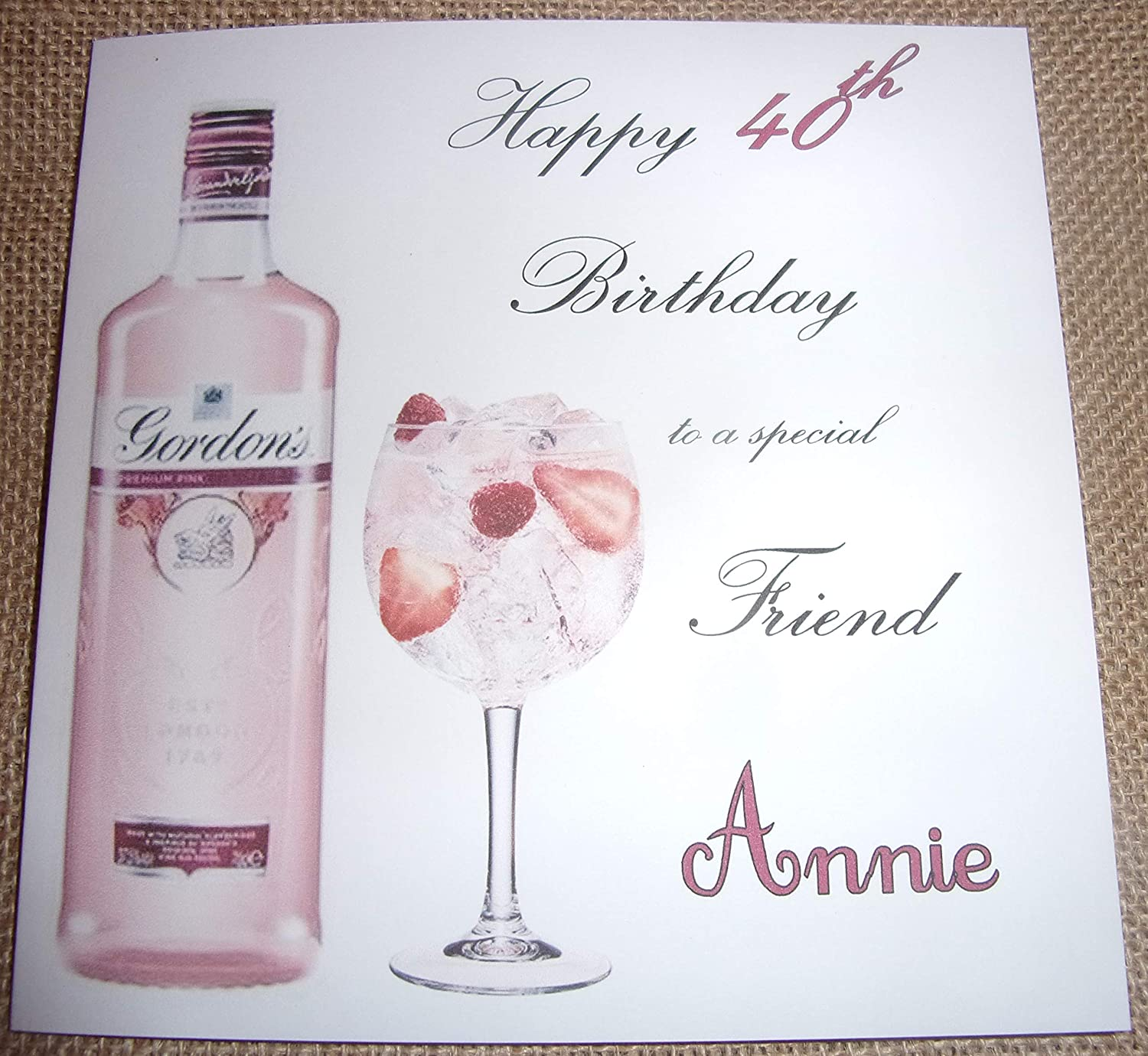 Personalised Pink Gin Birthday Card Any Age 18th 21st 25th 30th 40th 50th 60th