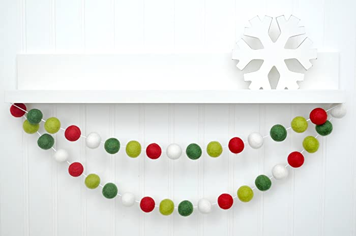 red green white felt ball garland pom pom banner christmas tree decoration party
