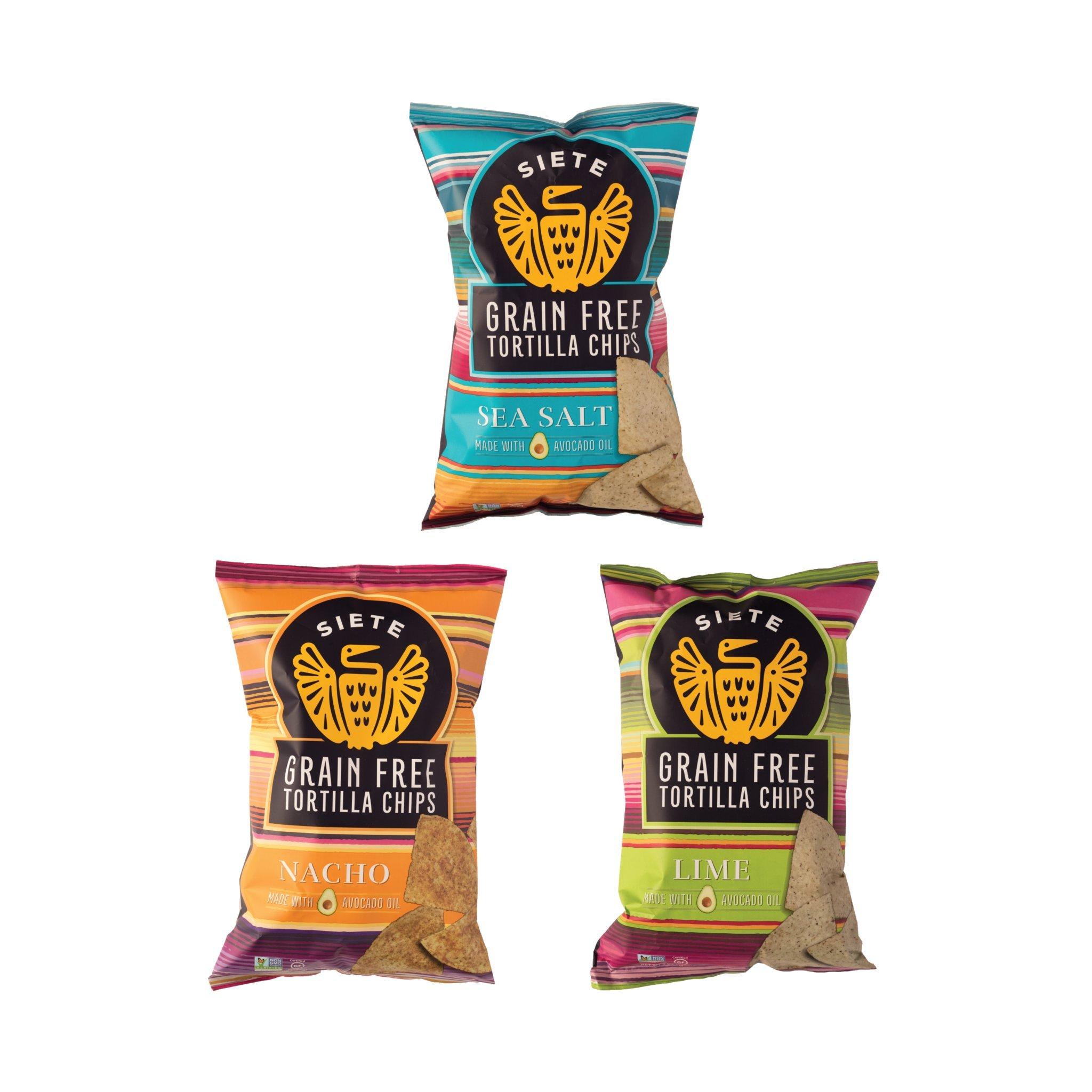 Siete Grain Free Tortilla Chips, 3 Bag (5 Ounce Each) Sampler of Nacho, Lime, Sea Salt