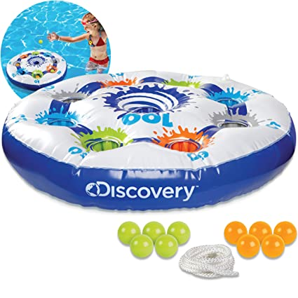 Discovery Kids Inflatable Target Toss Floating Pool Game with 10 Balls and  Tether Rope, for Swimming Pools, Summer Parties, Lawn and Beach Games