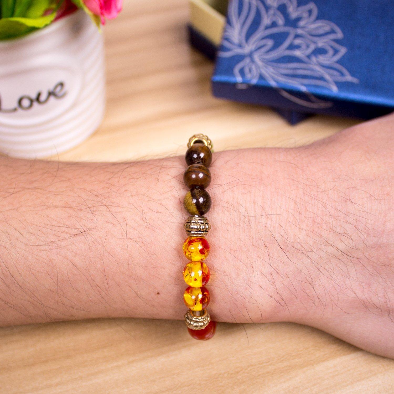Bracelet,PWMEN Women Men 8mm Round Beads Chakra Bracelet Healing Balance Plated Sliver Gemstone Bracelet 7.08