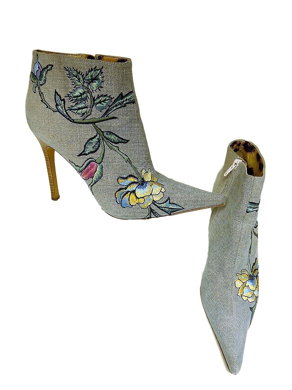 Roberto Cavalli Women's Denim Jean Floral Boots Booties