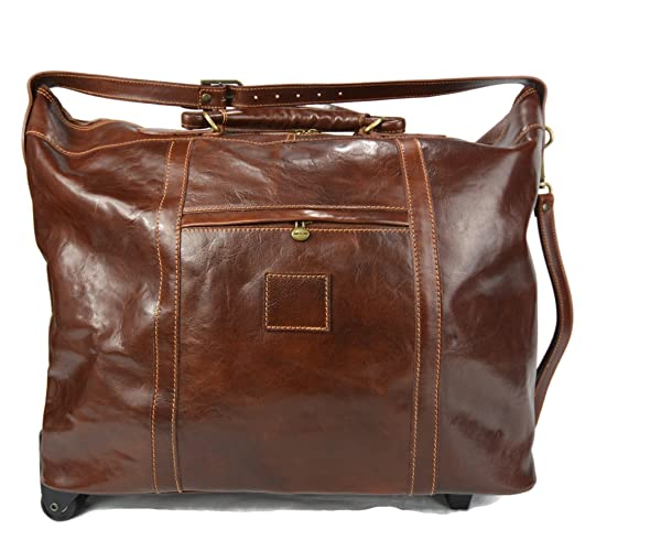 6b9675938c7f Image Unavailable. Image not available for. Color  Leather trolley travel  bag brown leather duffle weekender overnight leather bag two wheels leather  cabin ...