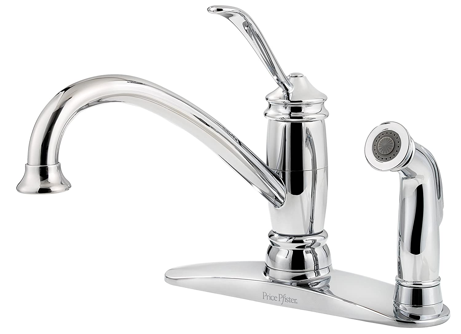 Pfister F0343ALC Brookwood 1-Handle Kitchen Faucet with Side Spray, Polished Chrome, 2.2 gpm