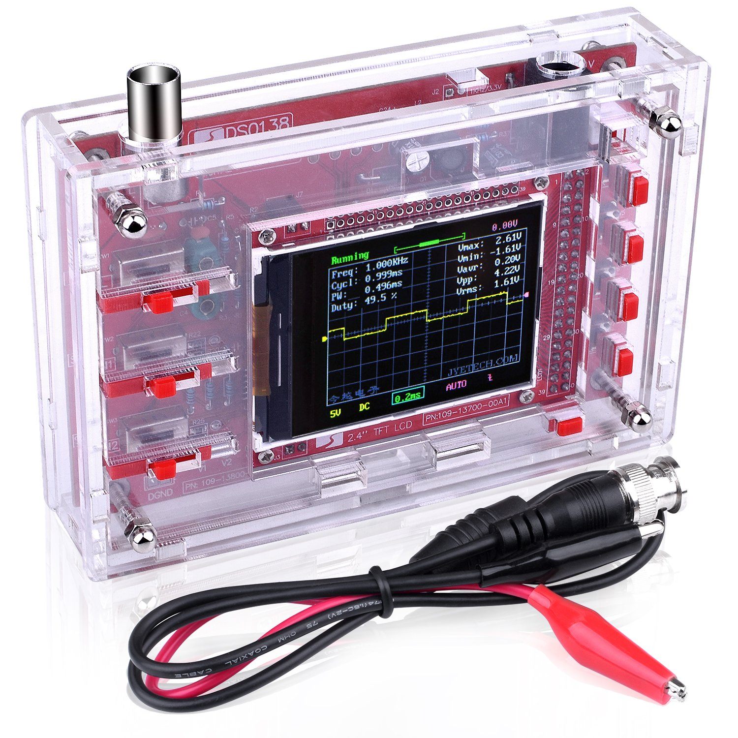 Quimat DSO138 Digital Oscilloscope Kit + Case / Open Source 2.4 inch TFT 1Msps with Probe Assembled Vision 13805KC-UK