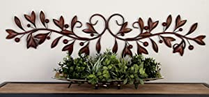 "Deco 79 71885 Leaves and Berries Metal Scrollwork Wall Décor, 49"" W x 9"" H, Brown"