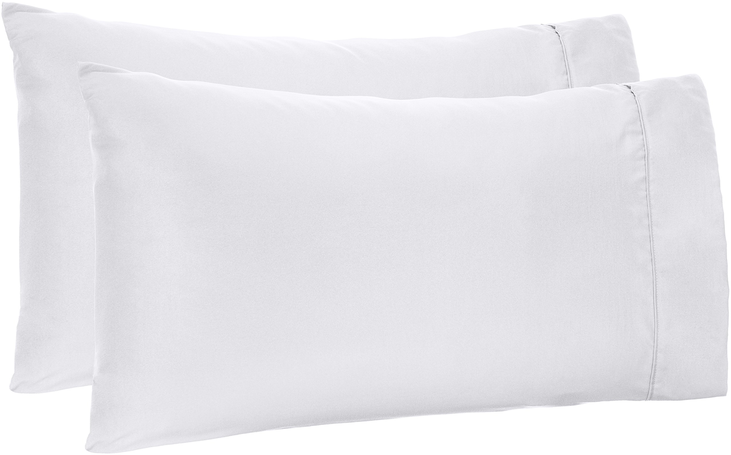 AmazonBasics Microfiber Pillowcases - 2-Pack, King, Bright White