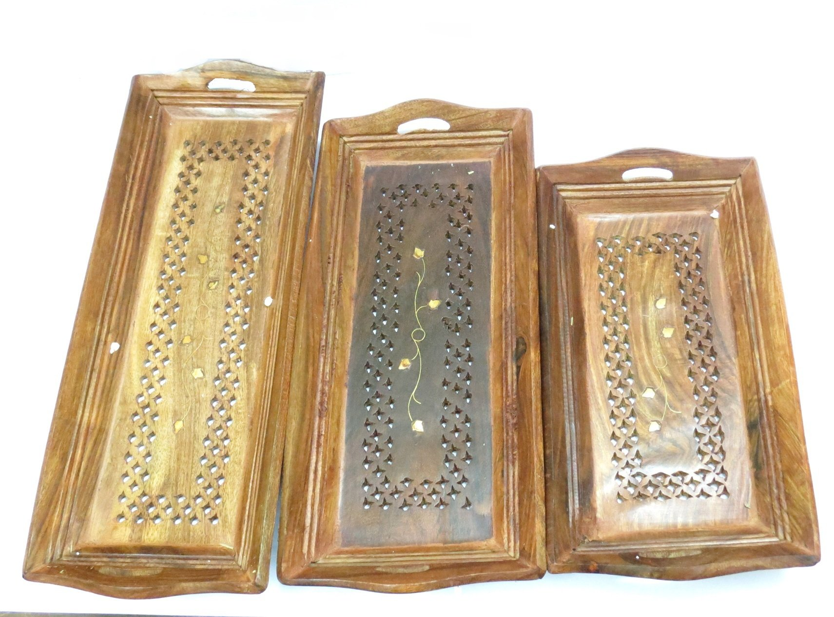Wooden Serving Tray Handmade Home Kitchen Decor, (Set of 3)- with Brass Etchings For Parties,Gift for Christmas or Birthday to Your Loved Ones By Affaires W-40139
