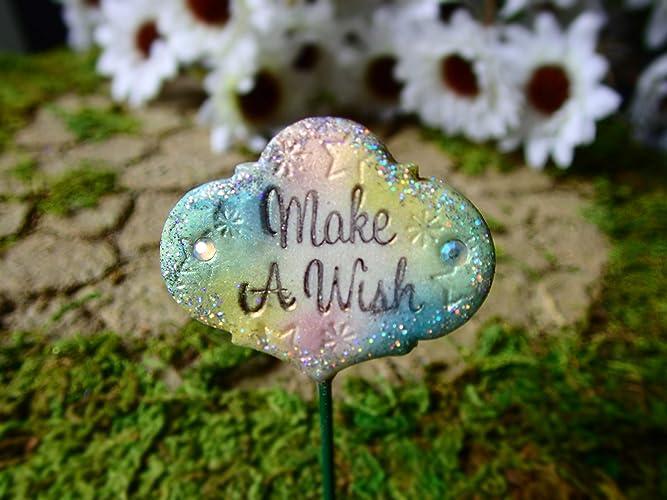 Amazon Com Fairy Garden Make A Wish Sign Miniature Garden