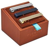 Puentes Denver Men's Tie Clip Bar Set Textured Silver/Black/Gold One Size 3 Piece