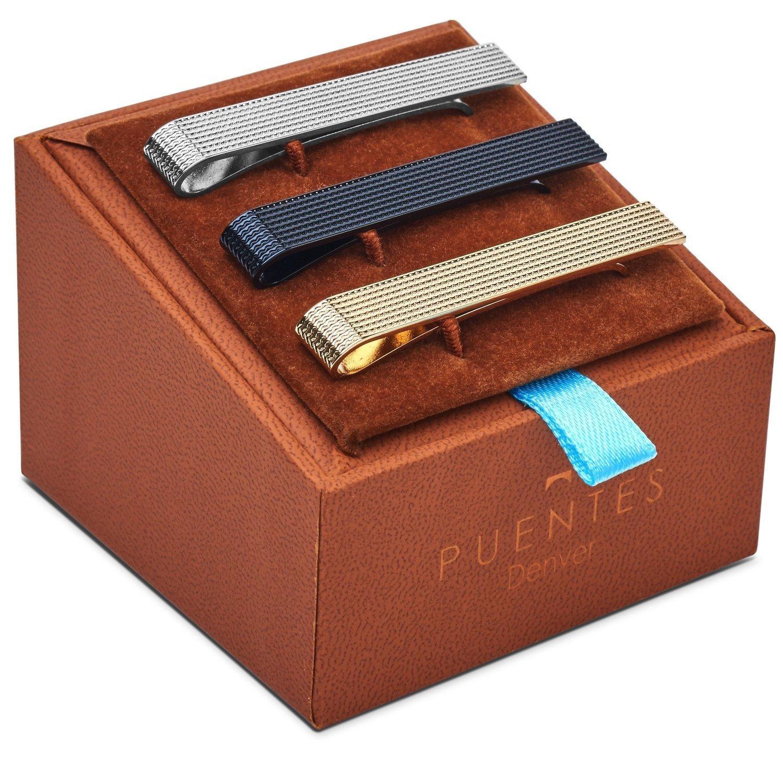 3-er Packung Krawattenklammer / Krawattennadel 5.4 cm Silber, Goldfarben, Schwarz Für Krawatte im Geschenketui, Geschenkset Puentes Denver PC-TC-SET-14-C