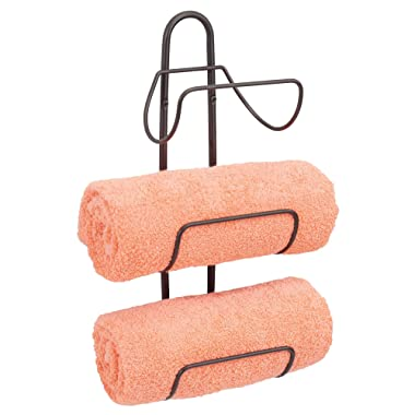 mDesign Modern Decorative Metal Three Level Wall Mount Towel Rack Holder and Organizer for Storage of Bathroom Towels, Washcloths, Hand Towels - Bronze