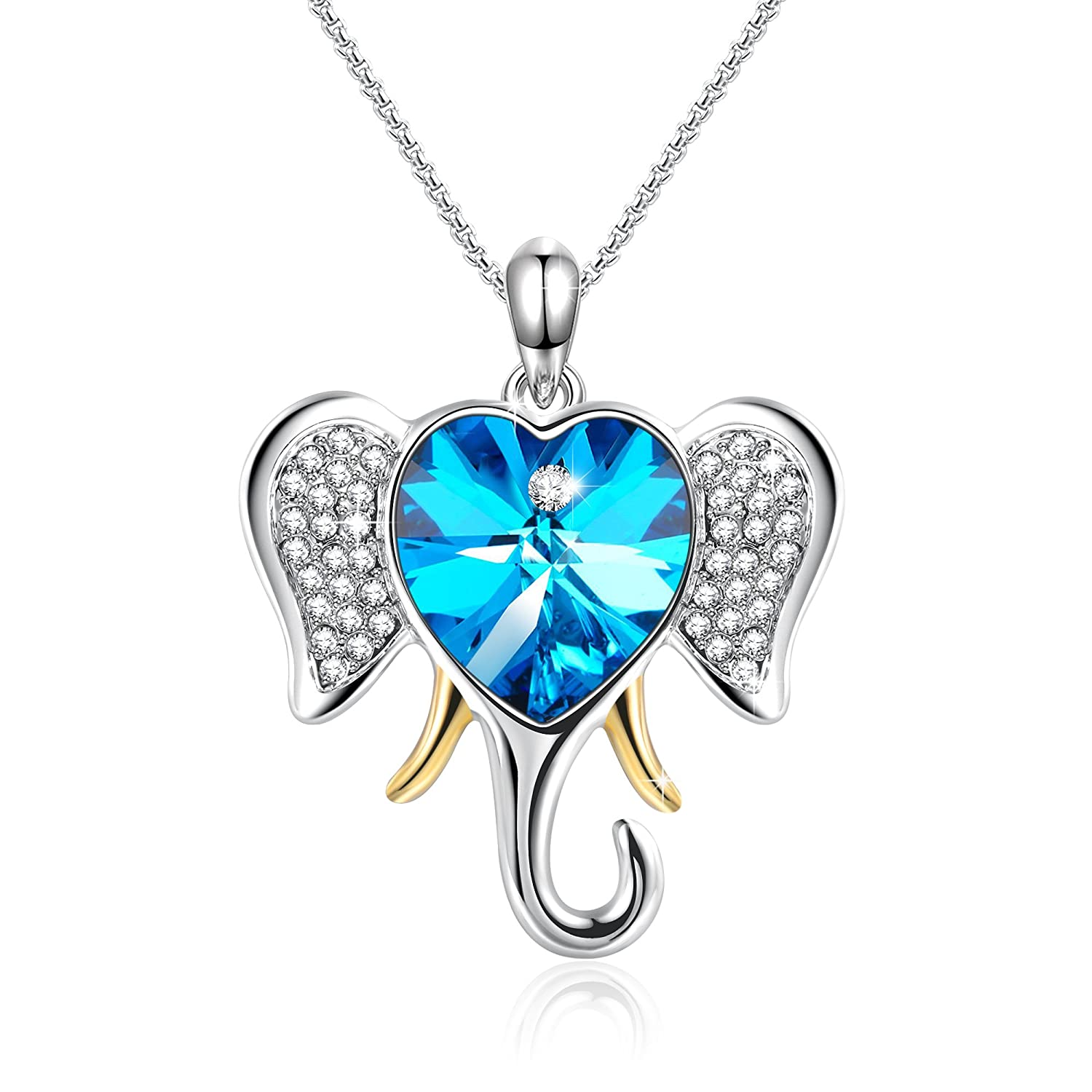 Amazon Angelady Lucky Elephant Pendant Animal Necklace With Blue Heart Shape Swarovski Crystal Wife Girlfriend Birthday Party Jewelry Gifts For Mom