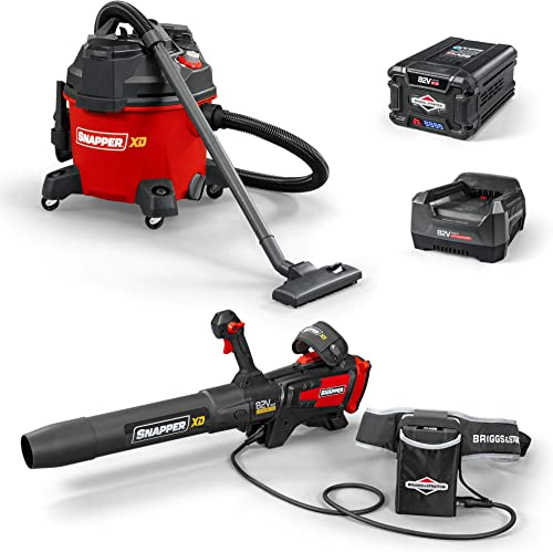 Snapper XD 82V Cordless Electric Bundle with Leaf Blower 700, Wet Dry Shop Vacuum, Battery Rapid Charger