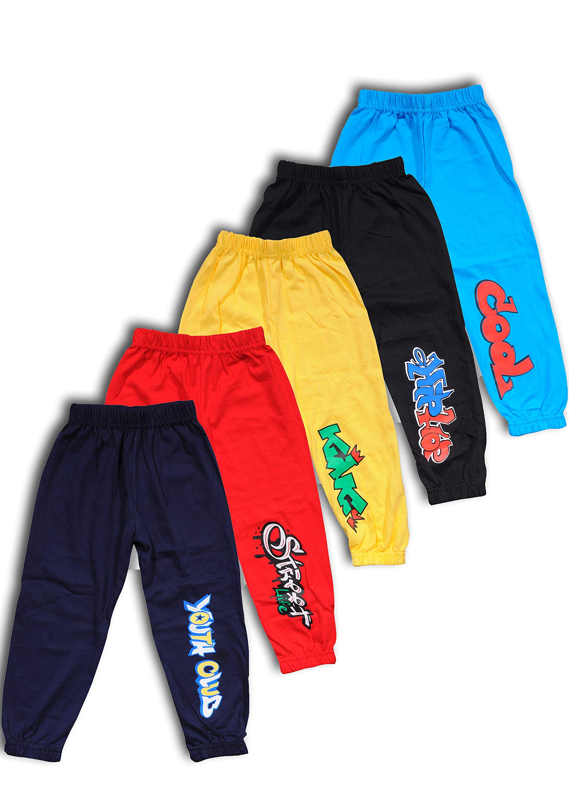 T2F Boys' Cotton Track Pant (Pack of 5, Multicolour) product image