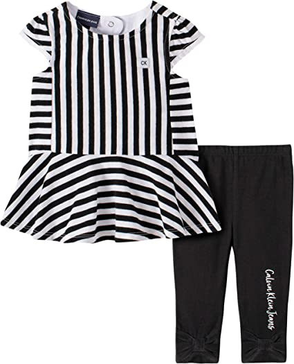 12 Months TOMMY HILFIGER 2-PC Baby Girl STAR TUNIC /& STRIPED LEGGINGS SET
