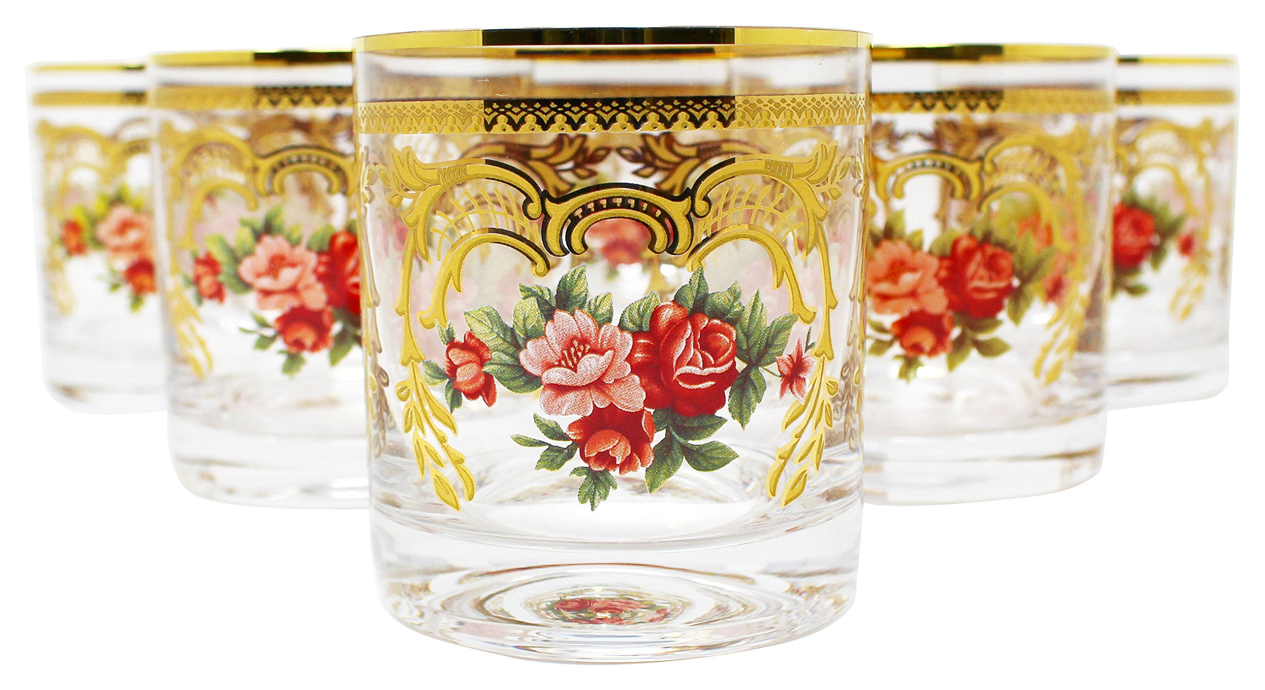 Glazze Crystal ALY-051-GL Old fashioned Whiskey Glass 7 oz. Gold/Floral