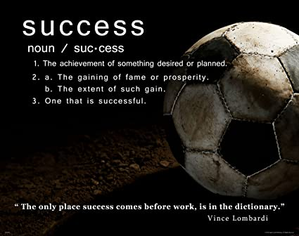 Soccer Motivational Poster Art Print Success Sports Equipment Balls Shoes Clothing 11x14