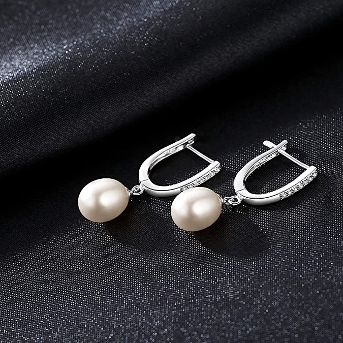 Womens Stud Earring White Cubic Zirconia Heart Love Round Pearl Epinki White Gold Plated Earrings