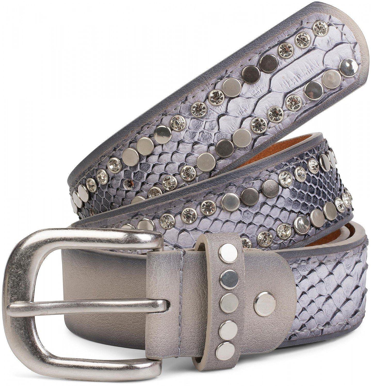 styleBREAKER cinturón con remaches planos y estrás, óptica de piel de serpiente, costuras ornamentales, estilo vintage, reducible, señora 03010064
